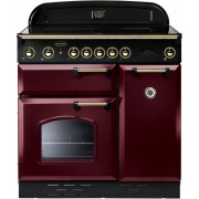 Rangemaster Classic Cranberry with Brass Trim 90cm Electric Induction Range Cooker