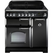 Rangemaster CDL90EIBL/C Classic Deluxe Gloss Black with Chrome Trim 90cm Electric Induction Range Cooker
