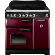 Rangemaster Classic Deluxe Cranberry with Chrome Trim 90cm Electric Induction Range Cooker