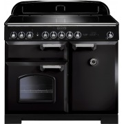 Rangemaster CDL100EIBL/C Classic Deluxe Gloss Black with Chrome Trim 100cm Electric Induction Range Cooker