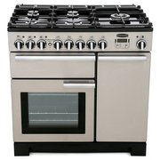 Rangemaster Professional Deluxe Stainless Steel with Chrome Trim 90cm Dual Fuel Range Cooker