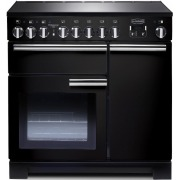 Rangemaster PDL90EIGB/C Professional Deluxe Gloss Black with Chrome Trim 90cm Electric Induction Range Cooker