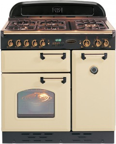 Rangemaster Classic Cream with Brass Trim 90cm Dual Fuel Range Cooker