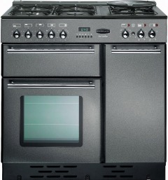 Rangemaster Toledo Gunmetal Grey with Chrome Trim 90cm Dual Fuel Range Cooker