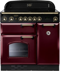 Rangemaster Classic Cranberry with Brass Trim 90cm Electric Ceramic Range Cooker