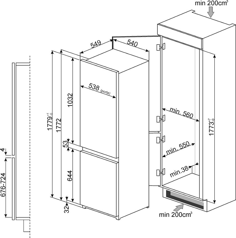 buy smeg c7280nld2p frost free integrated fridge freezer. Black Bedroom Furniture Sets. Home Design Ideas