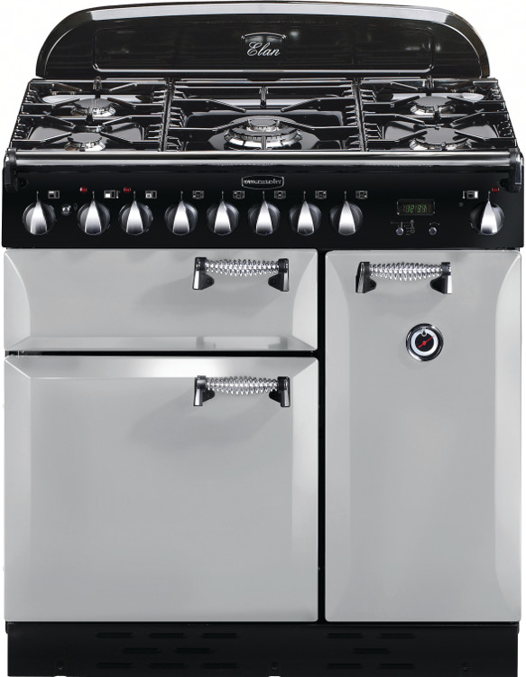 Rangemaster elas90dffrp elan royal pearl with chrome trim 90cm dual fuel rang - Falcon kitchener 90 inox ...