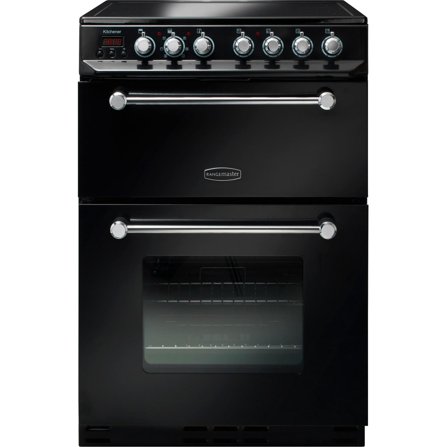 Rangemaster KCH60ECBL/C Kitchener 60 Black with Chrome Trim Ceramic Electric Cooker with Double Oven