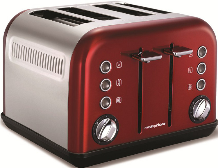morphy richards 242004 accents red 4 slice toaster buy online today 365 electrical. Black Bedroom Furniture Sets. Home Design Ideas