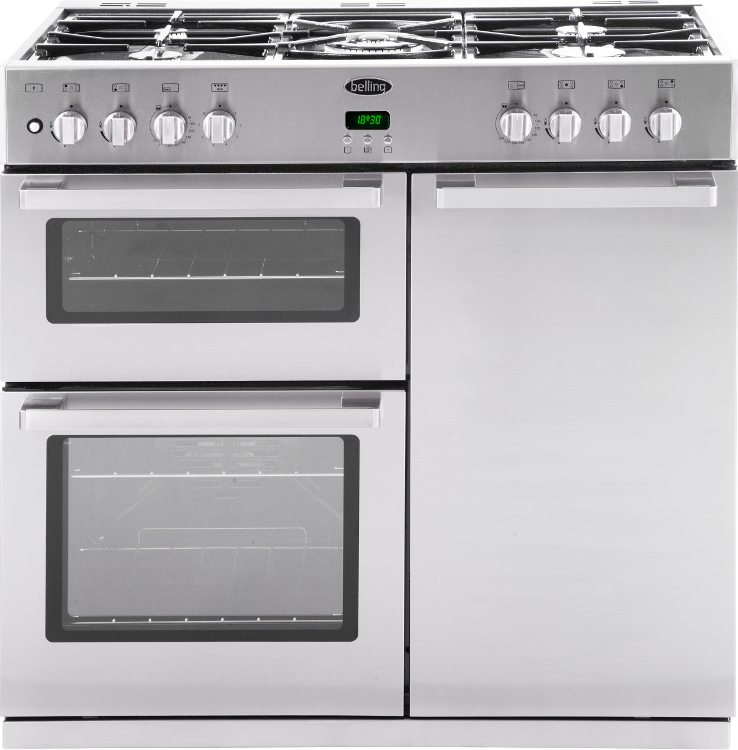 90Cm dual fuel range cooker stainless steel