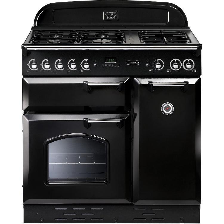 Rangemaster CLAS90DFFBL/C Classic Gloss Black with Chrome Trim 90cm Dual Fuel Range Cooker