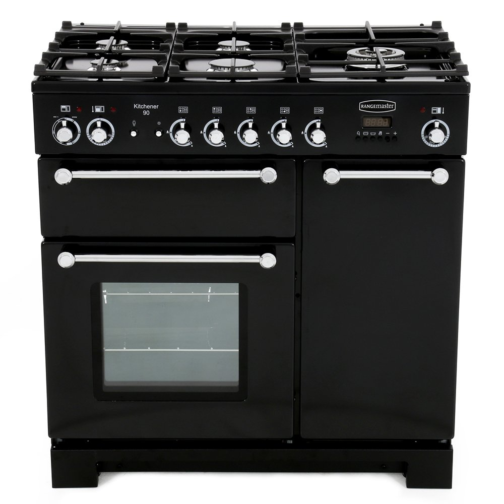 Rangemaster kch90dffbl c kitchener gloss black with chrome trim 90cm dual fue - Falcon kitchener 90 inox ...