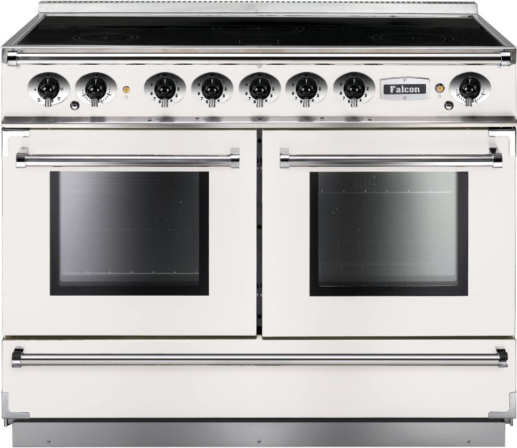 buy falcon 1092 continental ice white brushed chrome 110cm electric induction range cooker. Black Bedroom Furniture Sets. Home Design Ideas