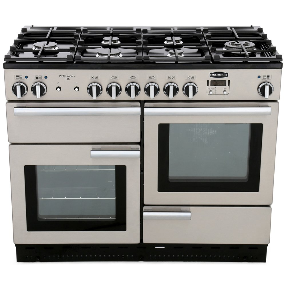 Rangemaster PROP110DFFSS/C Professional Plus Stainless Steel with Chrome Trim 110cm Dual Fuel Range Cooker