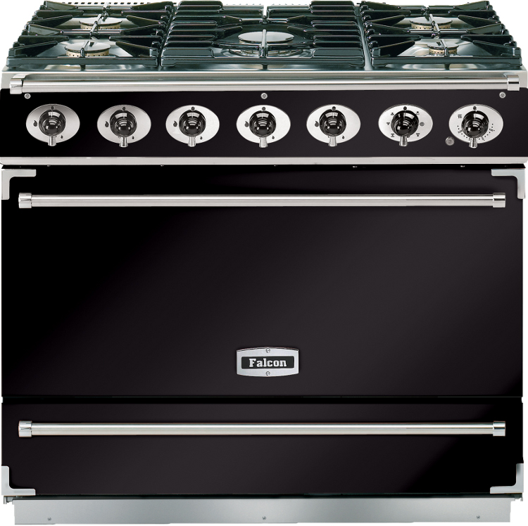 Falcon 900s black chrome 90cm dual fuel range cooker 87370 black with chr - Falcon kitchener 90 inox ...