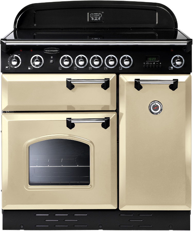 Rangemaster clas90eicr c classic cream with chrome trim for Table induction 90 cm