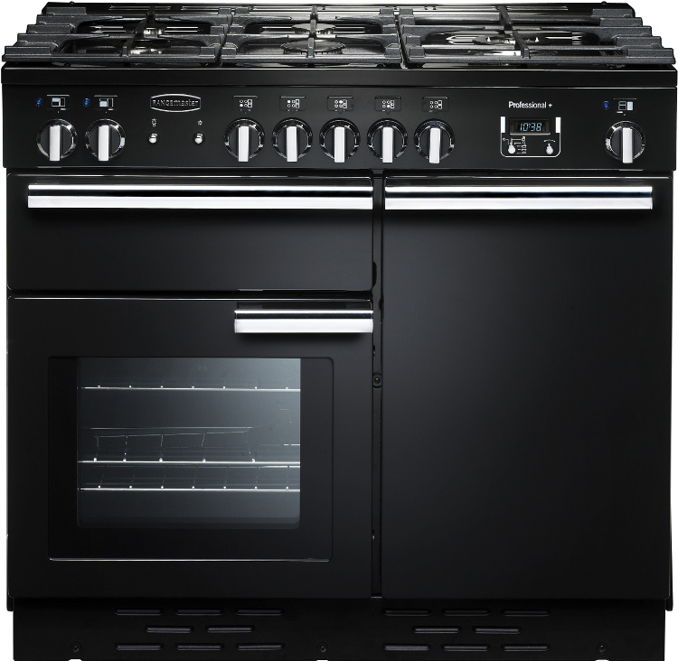 Rangemaster prop100dffgb c professional plus black with chrome trim 100cm dua - Falcon kitchener 90 inox ...