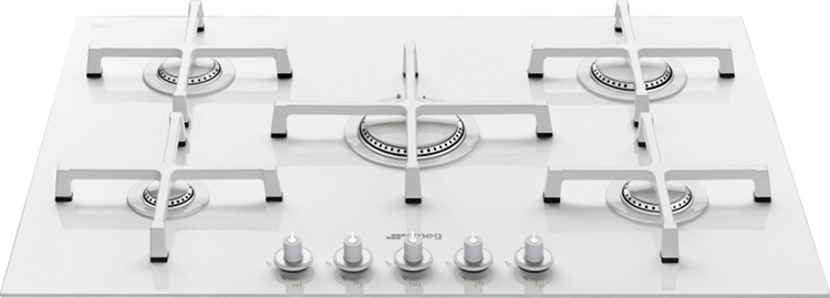 White gas hob 5 burner