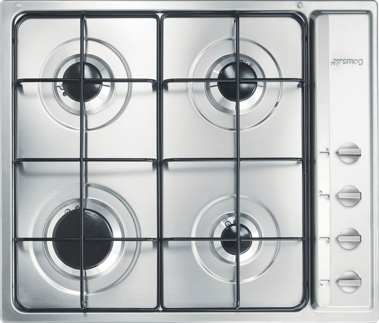 Smeg cucina s64s 4 burner gas hob s64s stainless steel for Cucina 8 fuochi zanussi