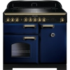 Rangemaster CDL100EIRB/B Classic Deluxe Regal Blue with Brass Trim 100cm Electric Range Cooker