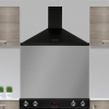 Rangemaster LEIHDC90BC Black with Chrome Trim 90cm Chimney Hood