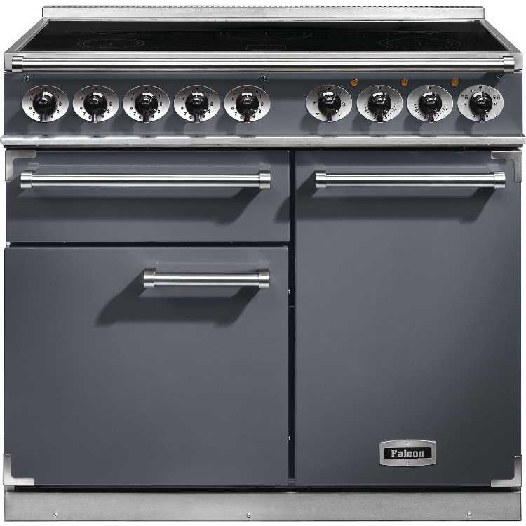 buy falcon 1000 deluxe slate brushed chrome 100cm electric induction range cooker 102310. Black Bedroom Furniture Sets. Home Design Ideas