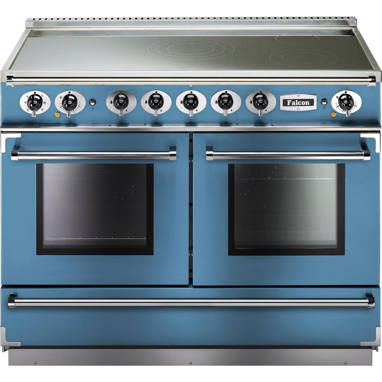 buy falcon 1092 continental china blue brushed chrome 110cm electric induction range cooker. Black Bedroom Furniture Sets. Home Design Ideas