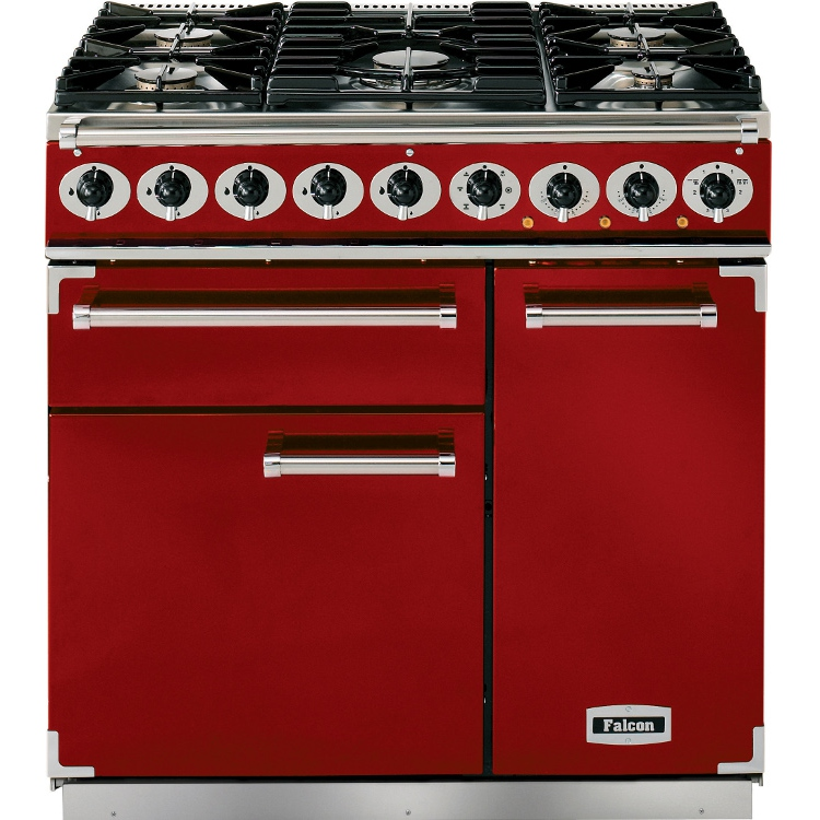 Buy falcon 900 deluxe cherry red brushed chrome 90cm dual fuel range cooker - Falcon kitchener 90 inox ...
