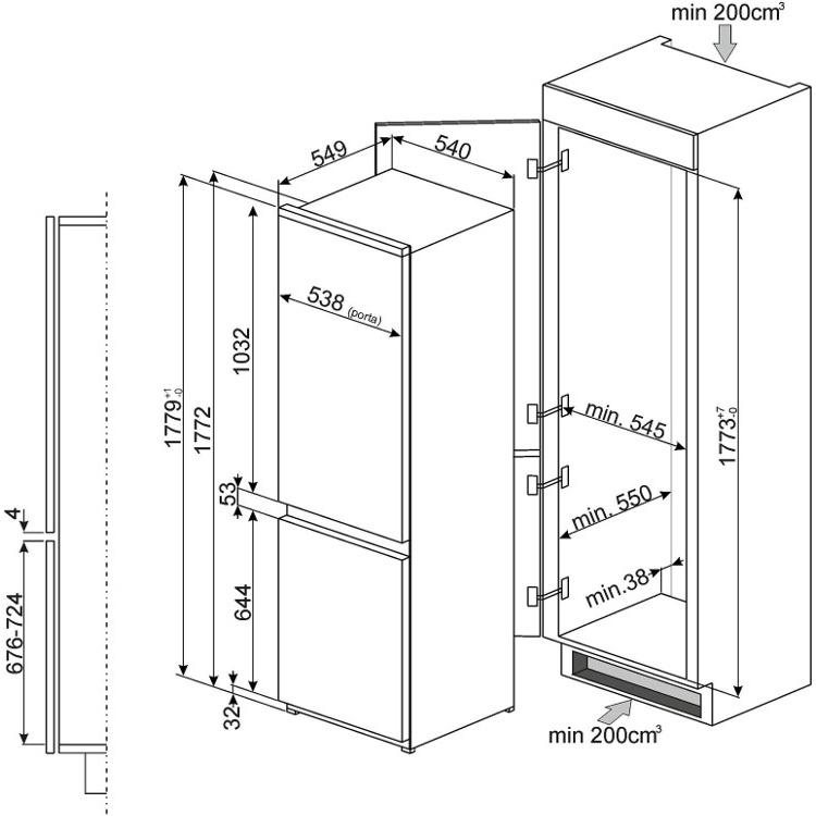 buy smeg c7280nep frost free integrated fridge freezer. Black Bedroom Furniture Sets. Home Design Ideas