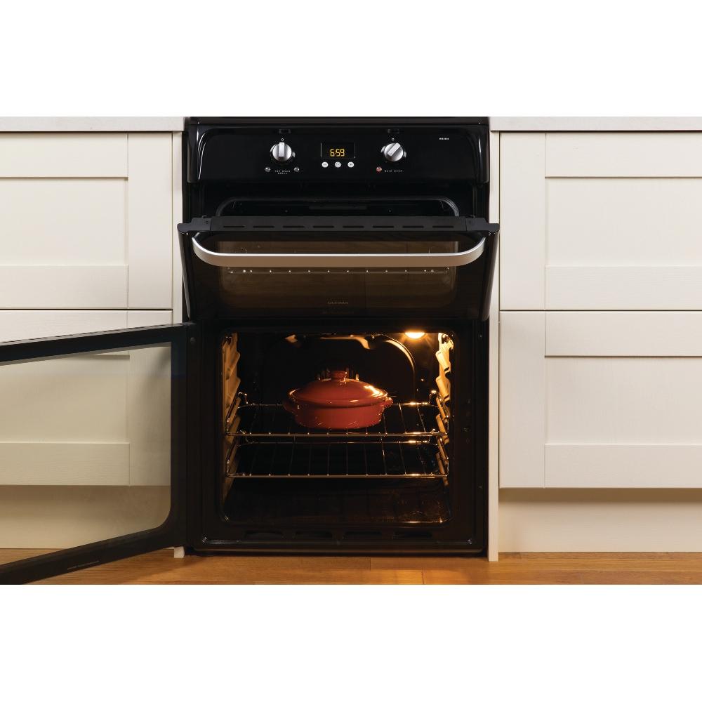 buy hotpoint ultima hui612k induction electric cooker double oven hui612k black marks. Black Bedroom Furniture Sets. Home Design Ideas