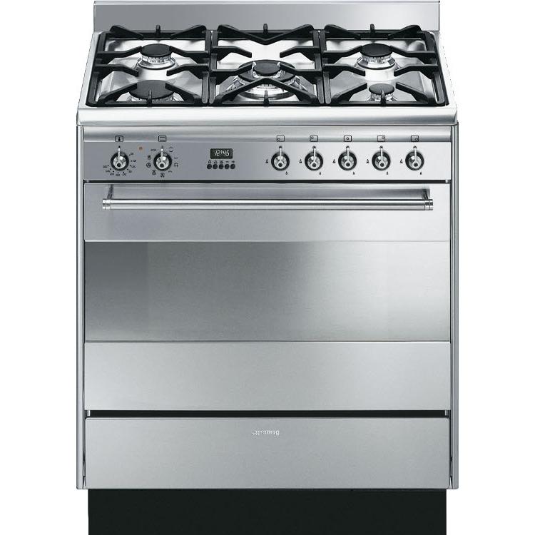 buy smeg concert suk81mfx8 80cm dual fuel range cooker suk81mfx8 stainless steel marks