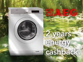 Claim 2 years of running costs back with selected AEG energy efficient appliances.