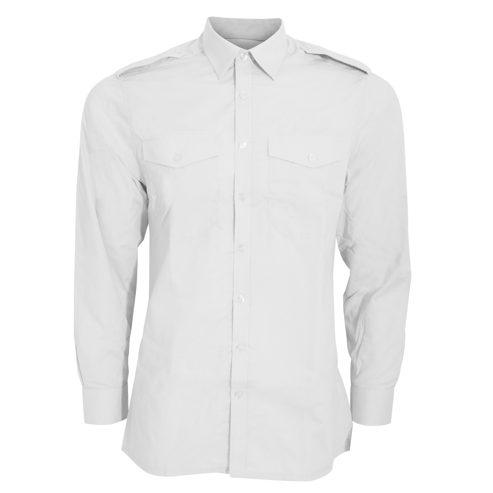 Kustom kit mens long sleeve pilot shirt white light blue for Black and blue long sleeve shirt