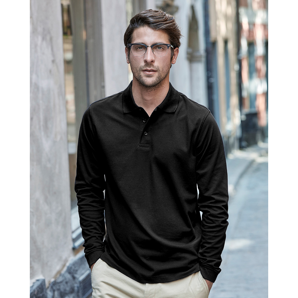 Tee jays mens luxury stretch long sleeve polo shirt ebay for Luxury mens t shirts