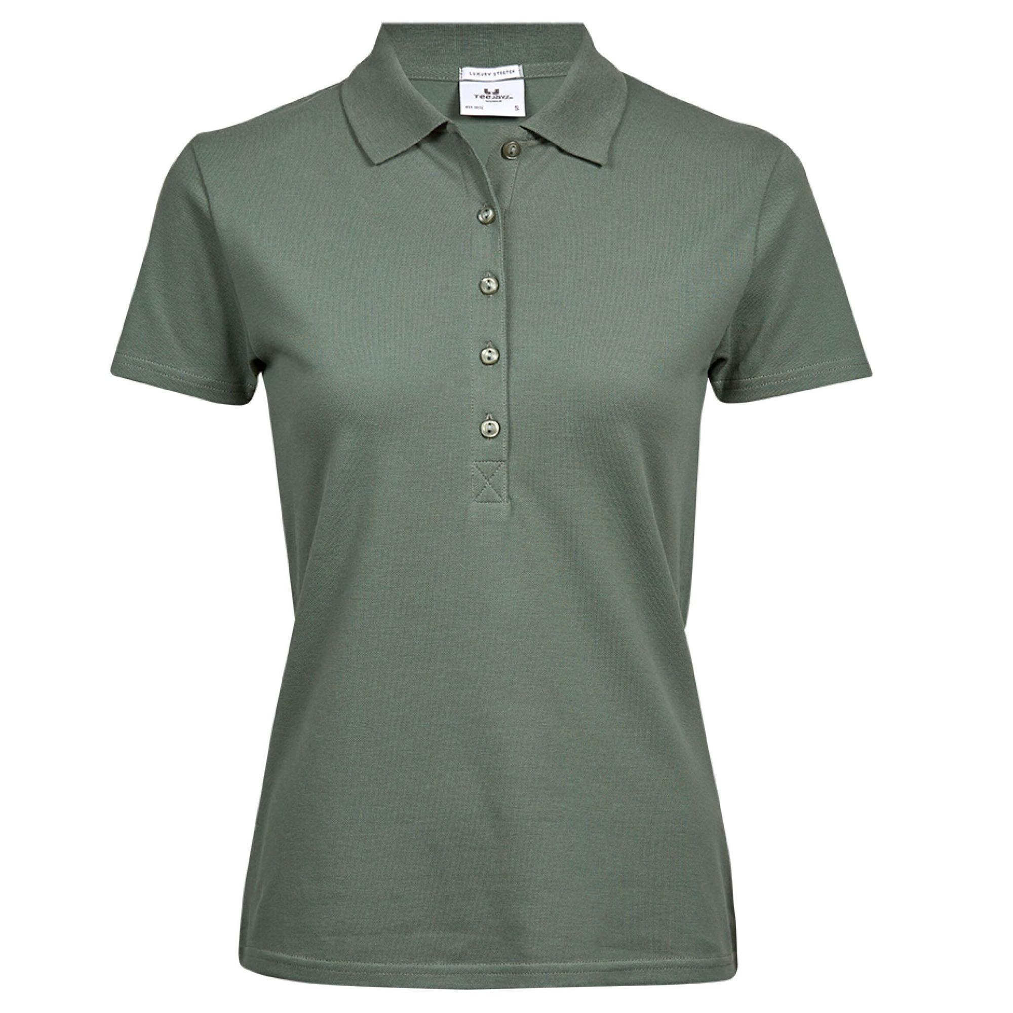 tee jays womens ladies luxury stretch short sleeve polo