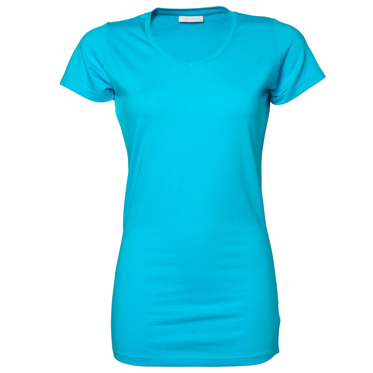 tee jays ladies stretch extra long v neck plain short