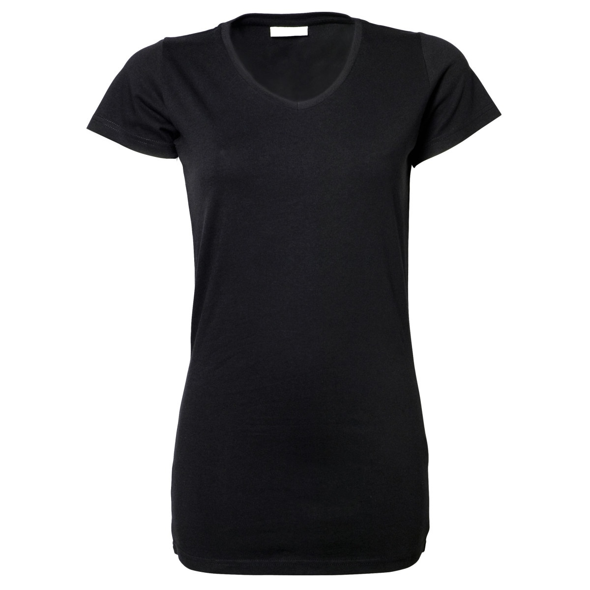 Tee jays womens ladies stretch extra long plain short for Short t shirts ladies
