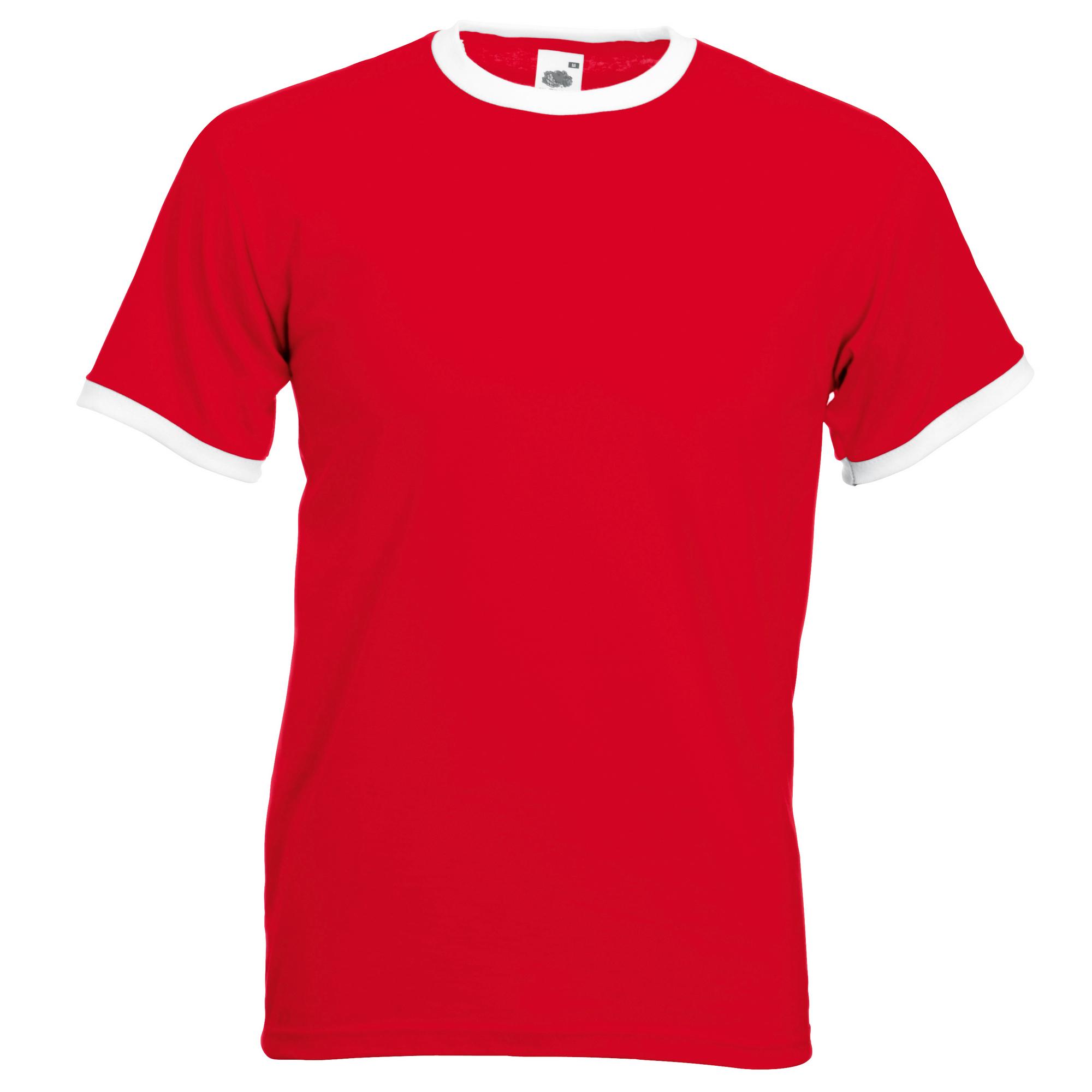 Fruit of the loom mens ringer short sleeve t shirt ebay for Short t shirt men