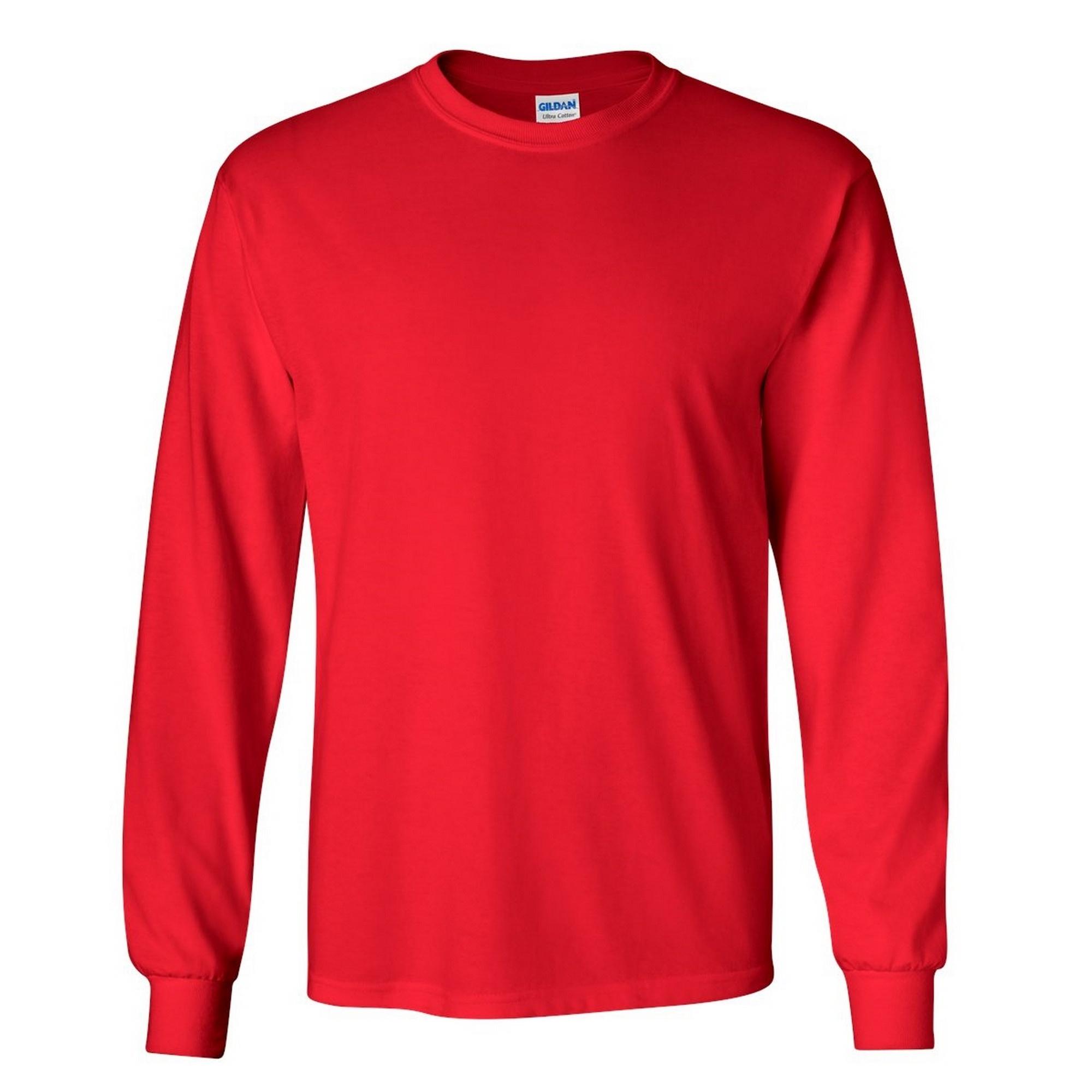 Gildan Mens Plain Crew Neck Ultra Cotton Long Sleeve T-Shirt | eBay