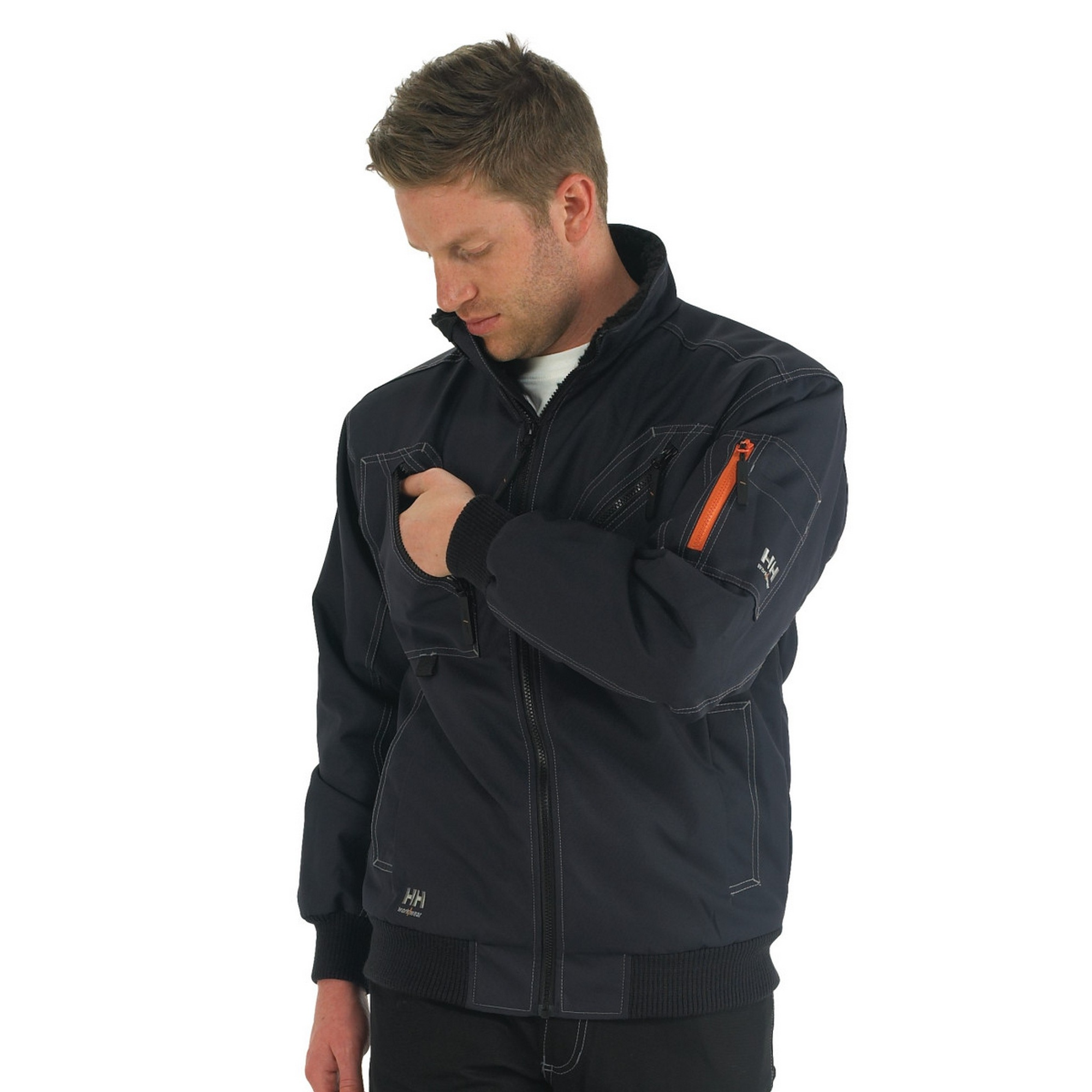 helly hansen bergholm full zip stylish work jacket mens workwear outerwear ebay. Black Bedroom Furniture Sets. Home Design Ideas