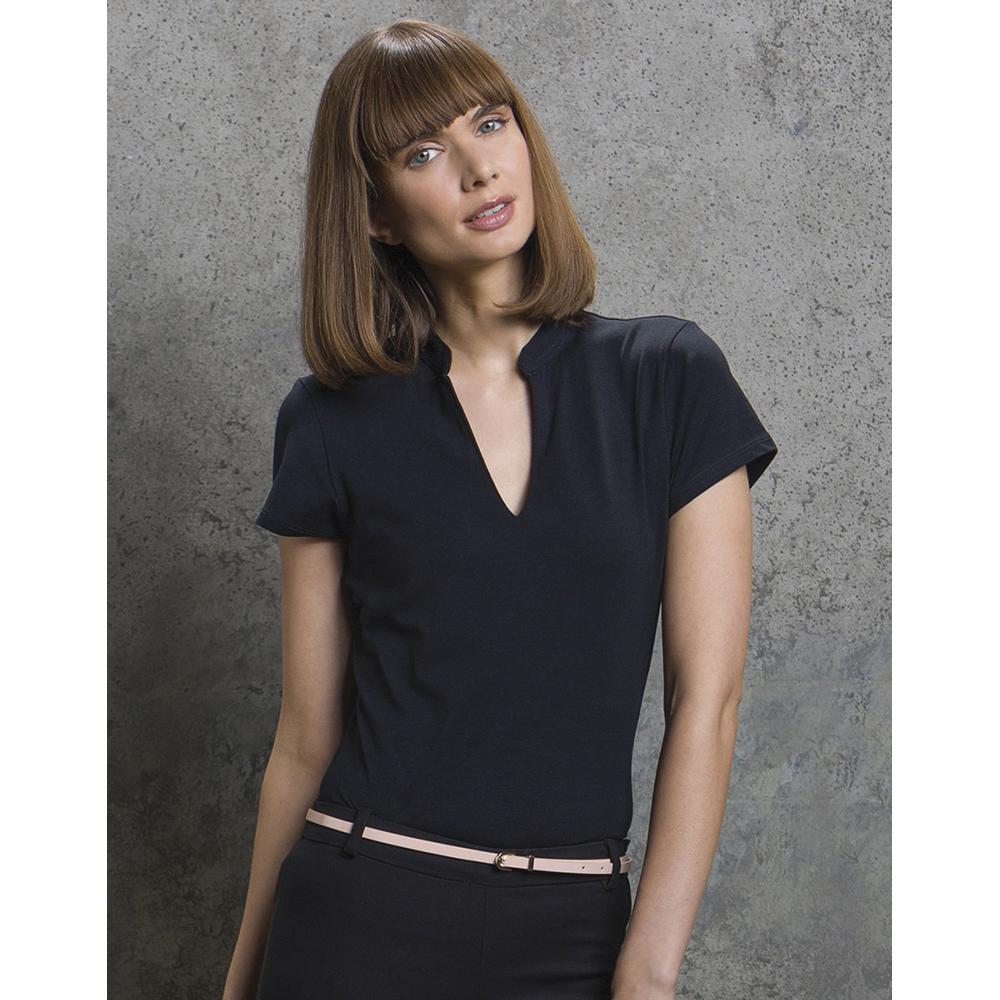 BC638 Kustom Kit Ladies Corporate Short Sleeve V-Neck Mandarin Collar Top
