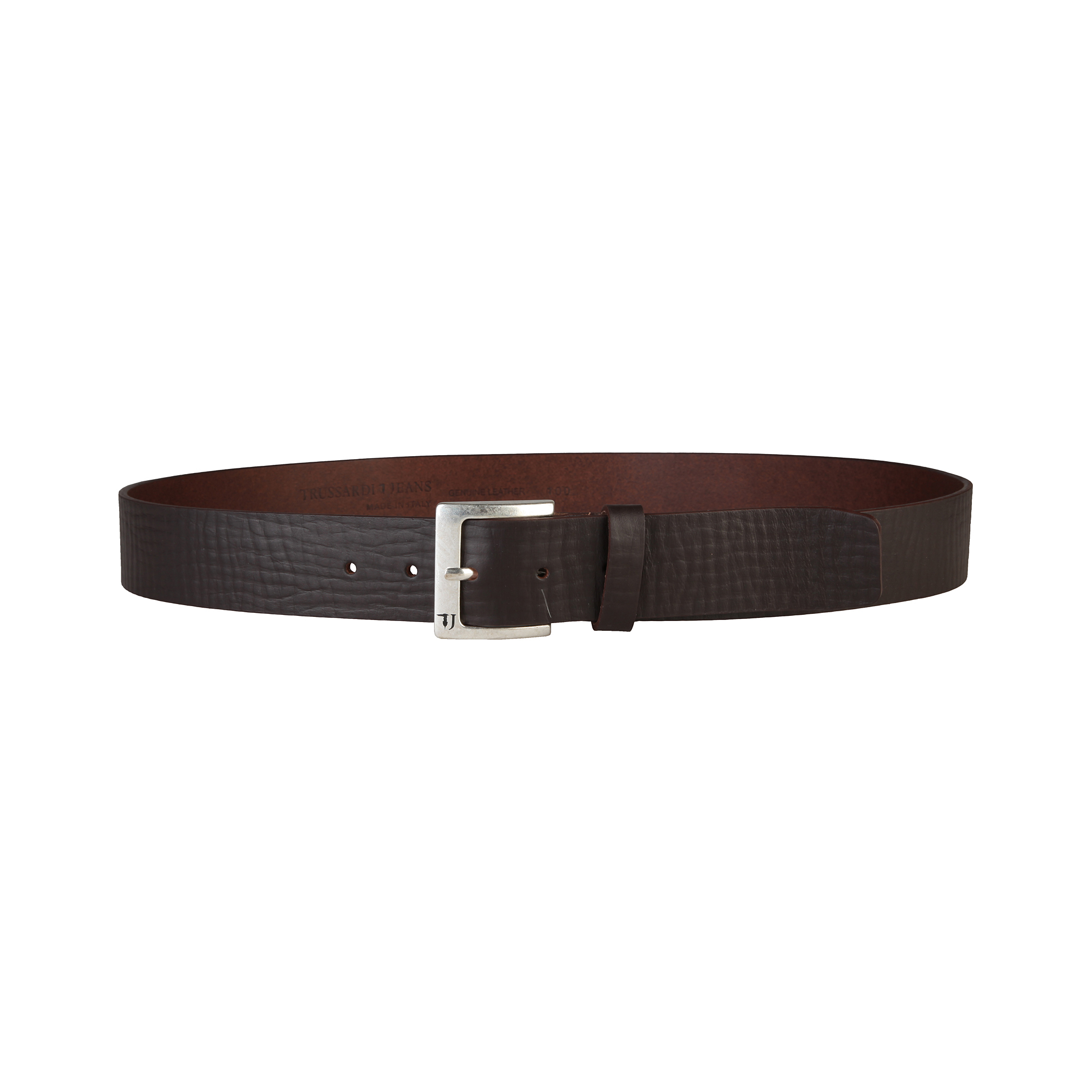 trussardi mens grained leather belt with logo on buckle ebay