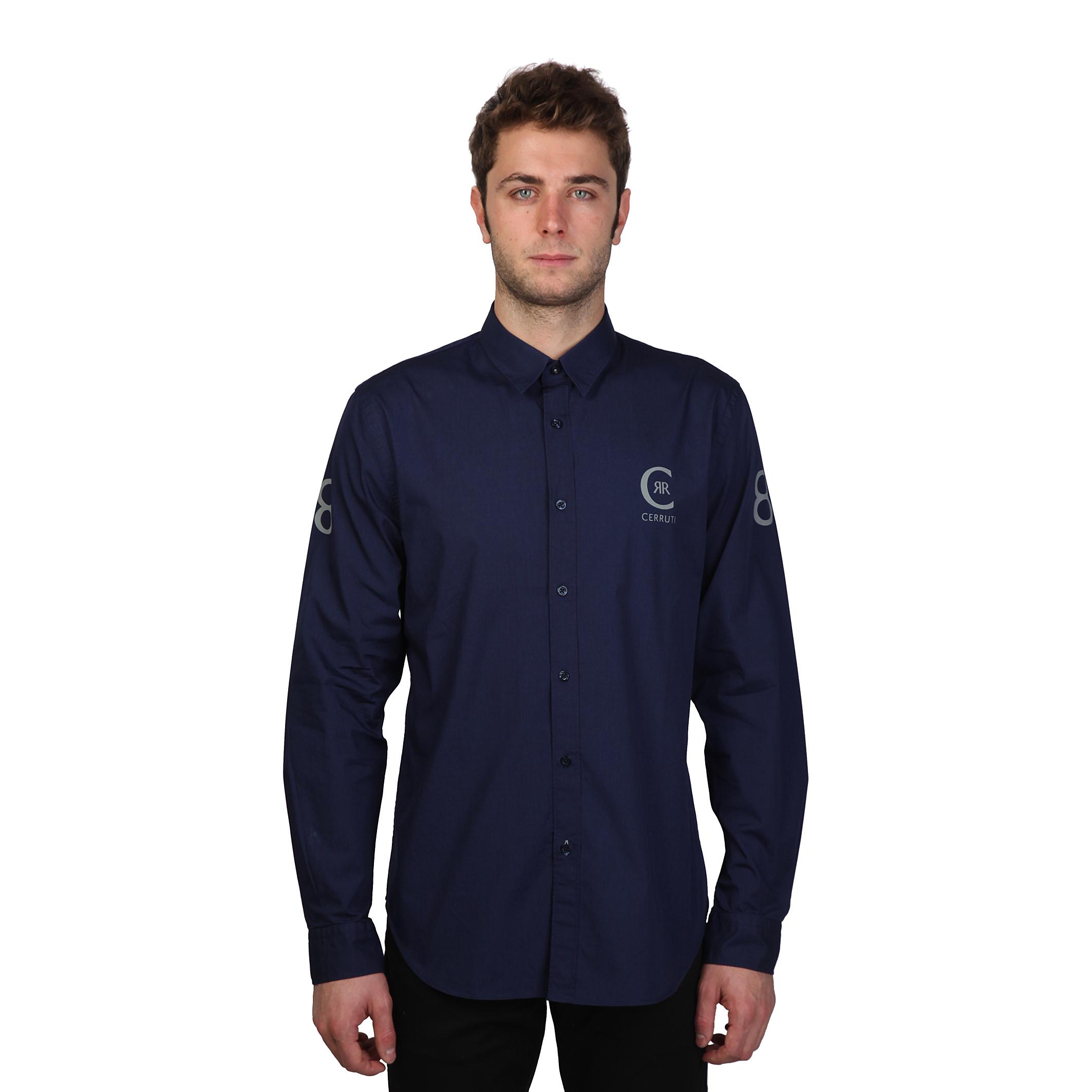 Cerruti 1881 mens casual plain long sleeve cotton shirt for Mens long sleeve casual cotton shirts