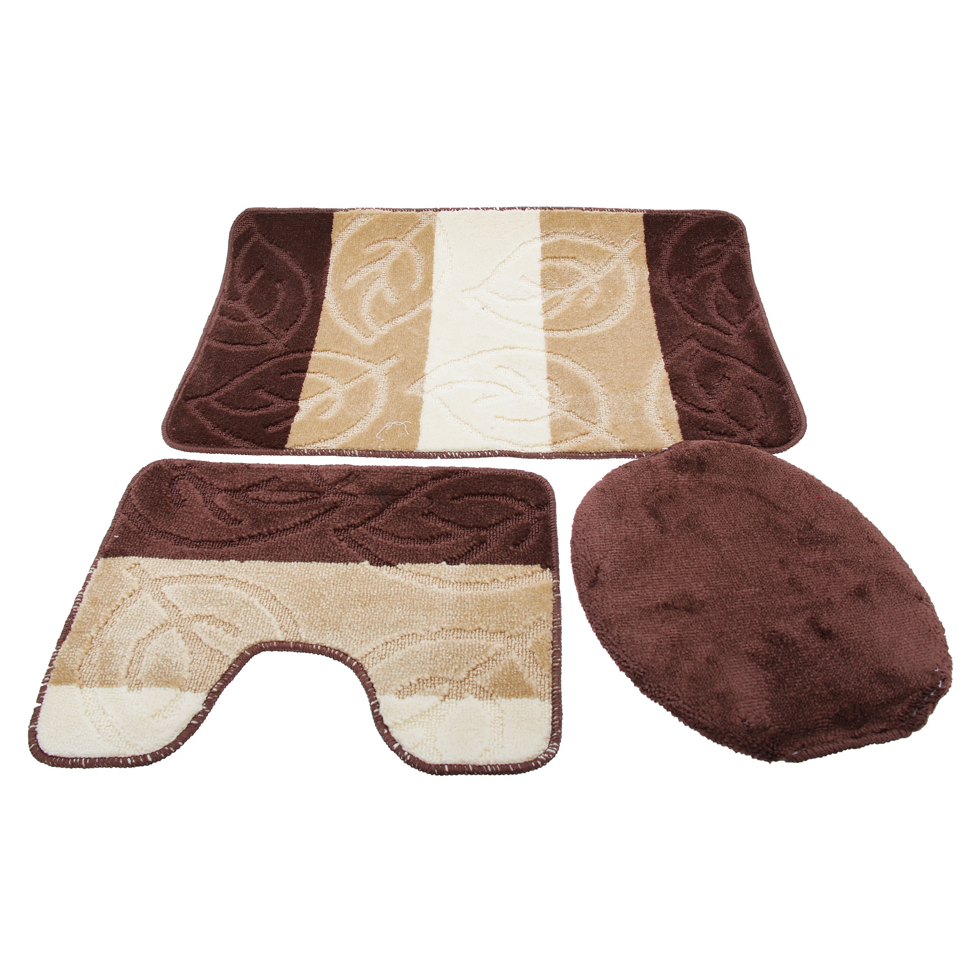 3 piece leaf design bath pedestal bathroom mat set for 3 piece bathroom designs