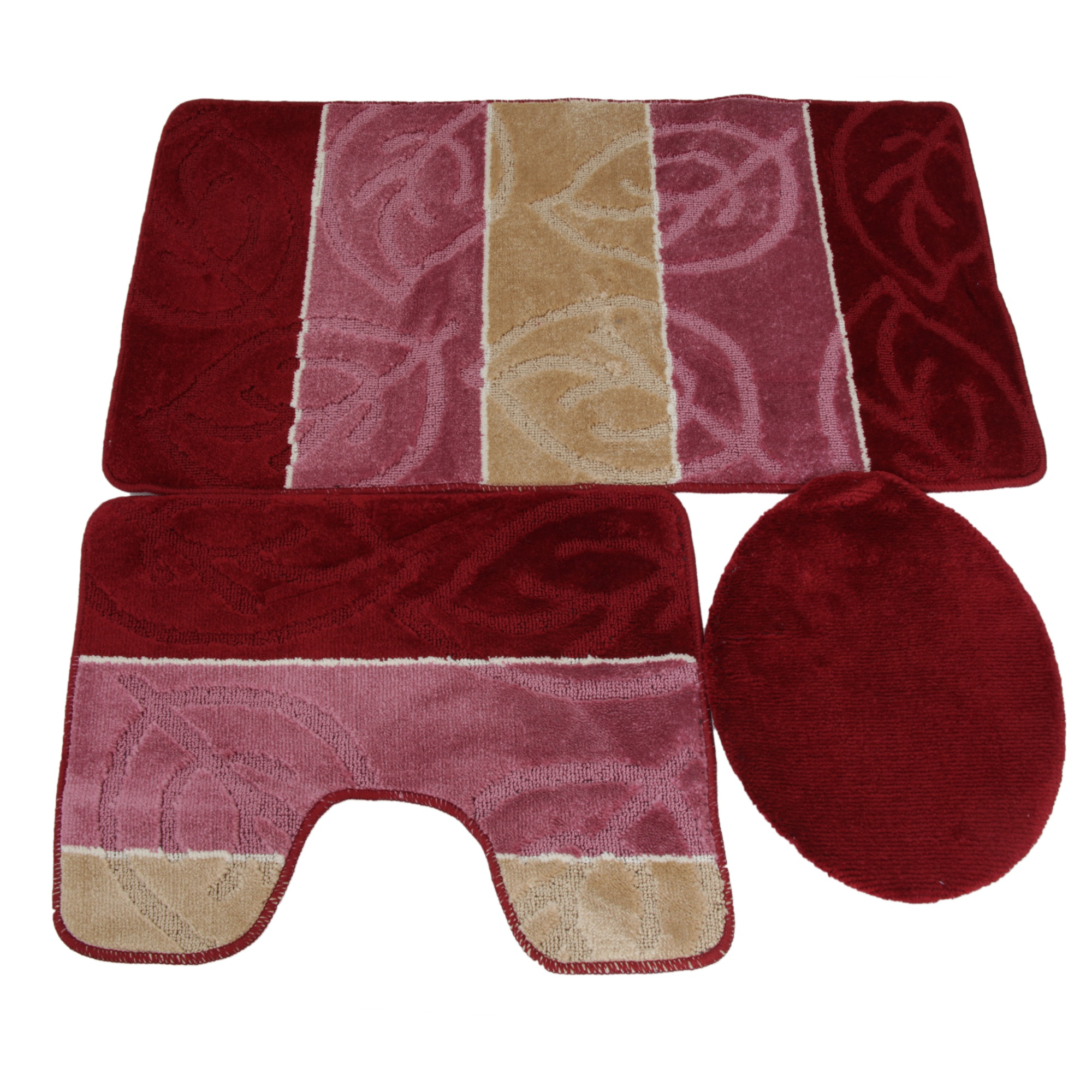 3 piece leaf design bath pedestal bathroom mat set with for 3 piece bathroom designs