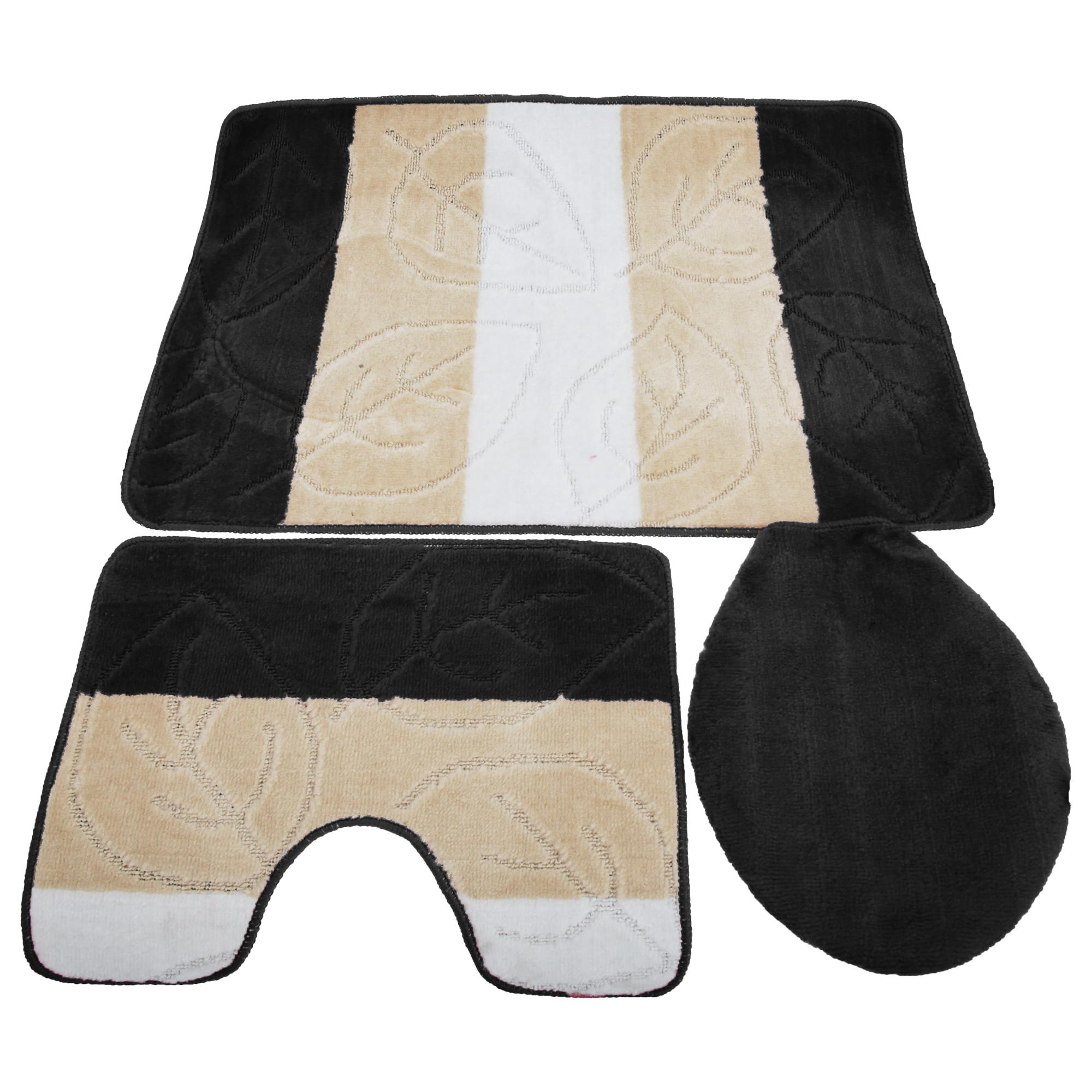 badeteppich set badematte toilettenvorleger deckelbezug blatt design 3 teilig ebay. Black Bedroom Furniture Sets. Home Design Ideas