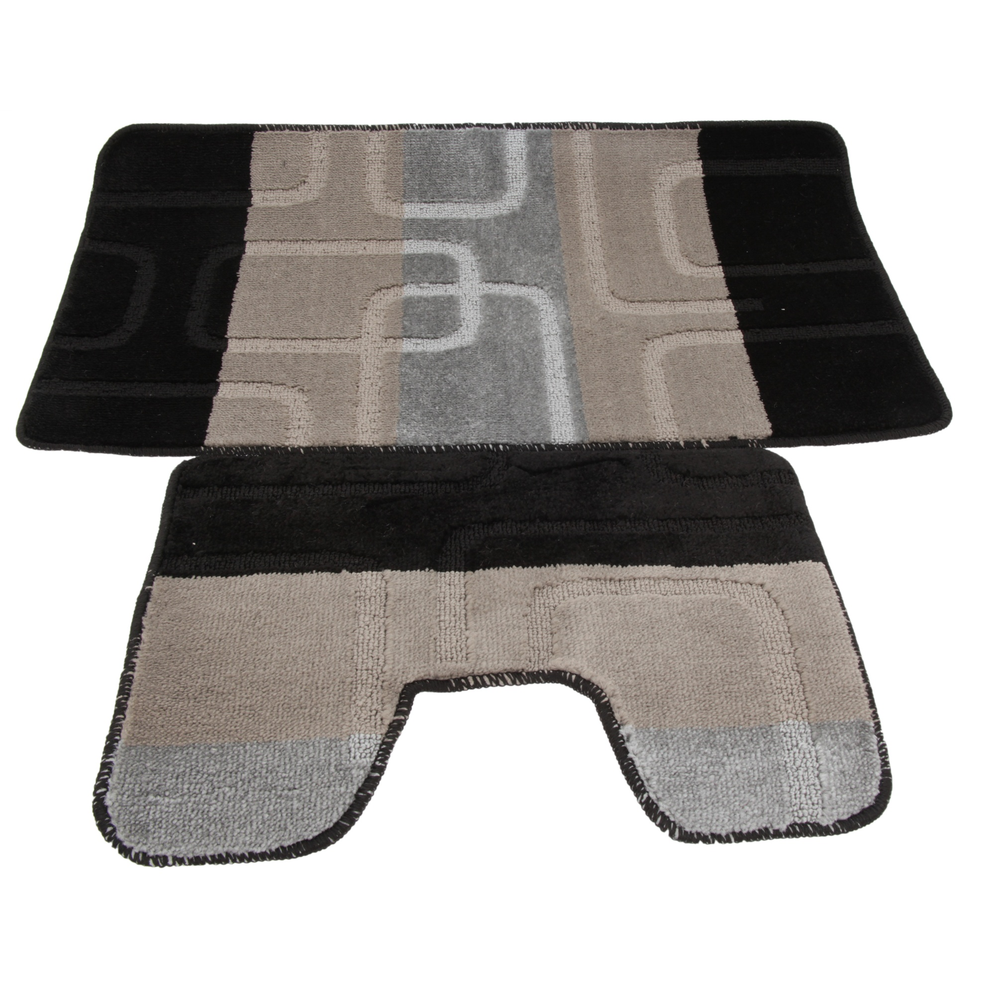 ensemble tapis de bain et contour de wc 5 couleurs utbr191 ebay. Black Bedroom Furniture Sets. Home Design Ideas