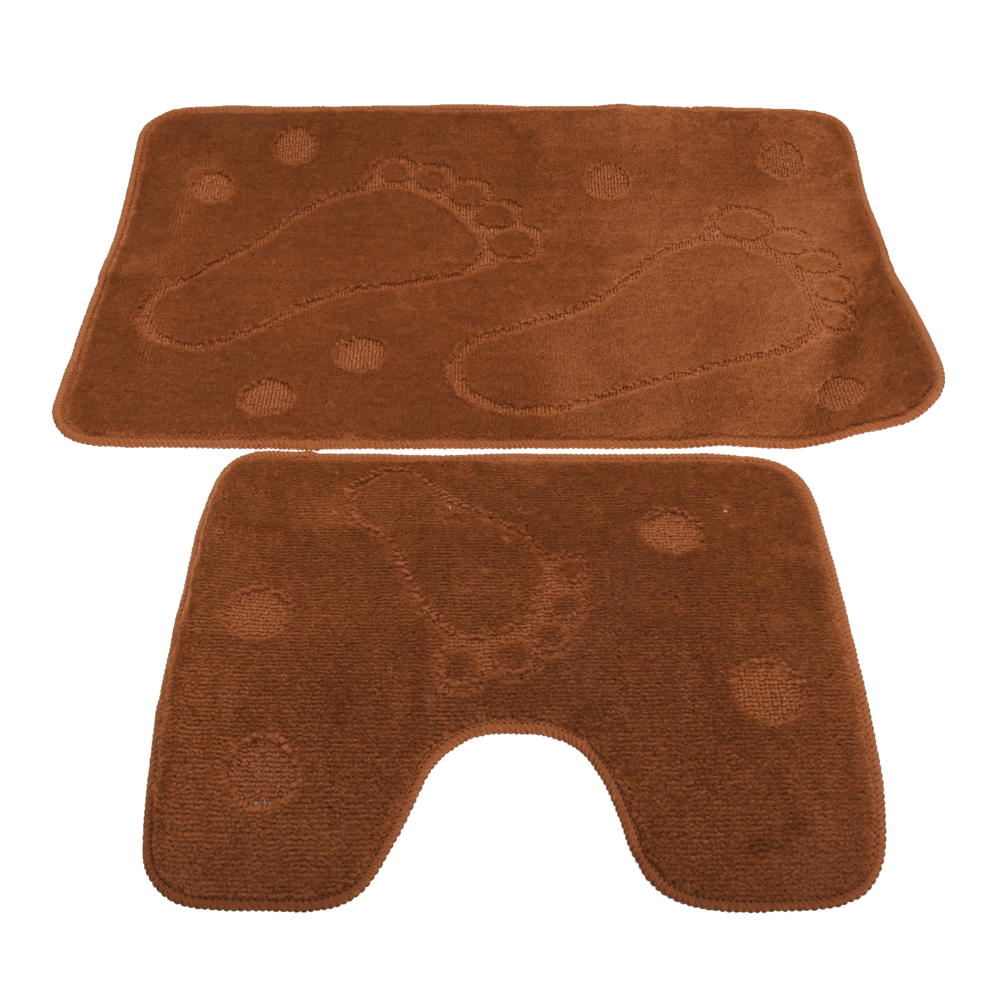 about 2 piece footprint design bathroom bath mat and pedestal rug set