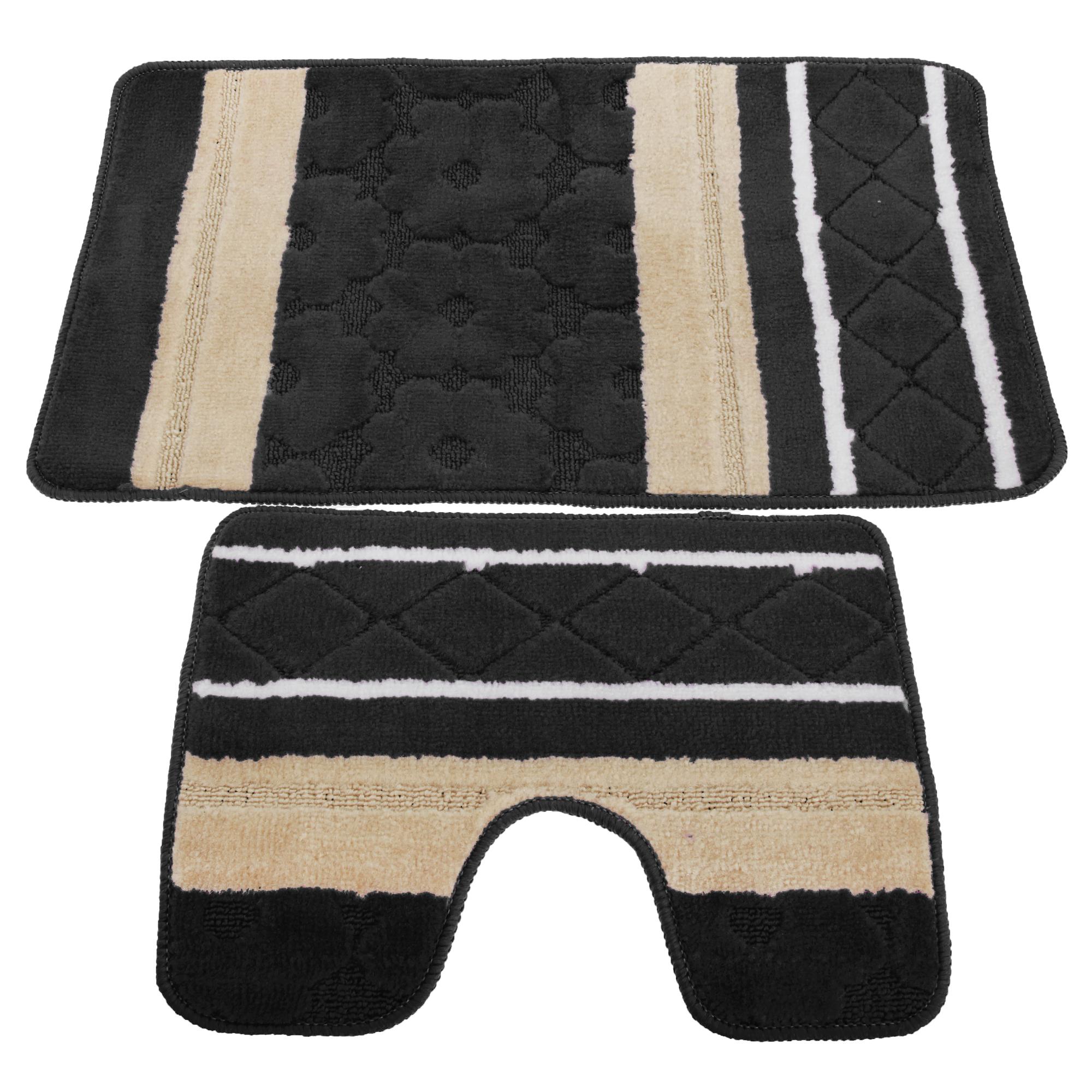 Coppia di tappetini a strisce per il bagno - Tappetini per bagno ...
