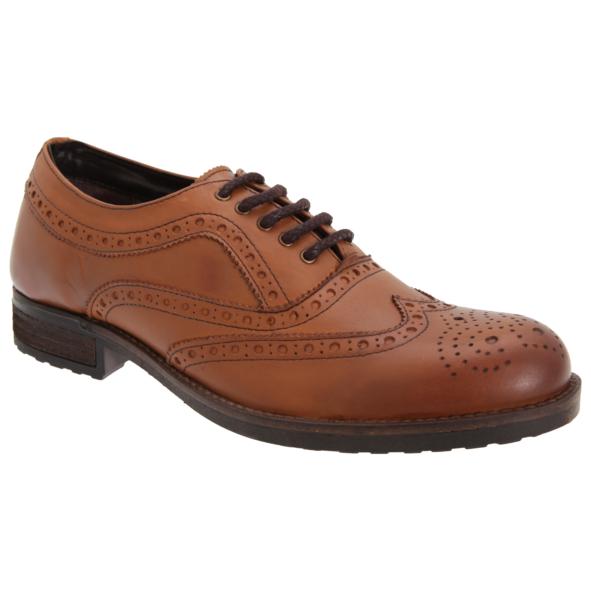 roamers mens softie leather 5 eyelet lace up casual brogue